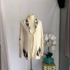 Cream button down sweater w black embroidery
